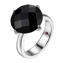 ELLE Sterling Silver Black Agate Ring