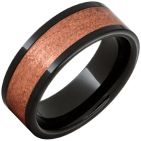 Black Ceramic Ring with Copper Inlay