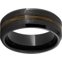 Black Ceramic Ring with Bourbon Grain Inlay