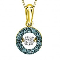 14K Blue Diamond ROL Pendant 1/5 ctw