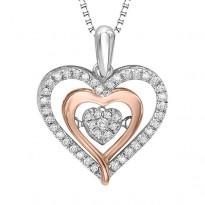 Rose Gold & Silver Diamond ROL Pendant 1/5 ctw