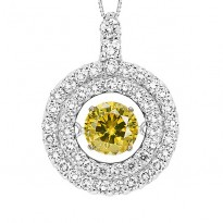 14K Yellow & White Diamond ROL Pendant 2 ctw ( 1 ct Center)