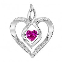 Silver Diamond & Created Pink Tourrm Pendant