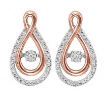 Rose Gold & Silver Diamond Rhythm Of Love Earrings