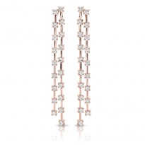 14K ROSE EARRINGS;DIAMOND=1 7/8 CTTW