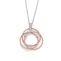 14K W/R INTERTWINED CIRCLE NECKLACE;DIAMOND=1/5 CTTW