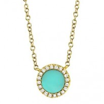 Yellow Gold Turquoise and Diamond Necklace