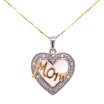 Two Tone Gold Diamond Heart Necklace