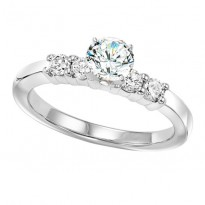 14K Diamond 4 Stones Shared Prong Engagement Ring 3/4 ctw