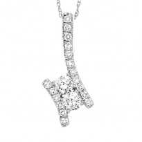 14K Diamond Two Stones Pendant  1 ctw