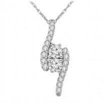 14K Diamond Two Stone Pendant 1/4 ctw