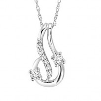 14K Diamond Two Stone Pendant 1/7 ctw