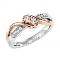 14K Diamond Two Stones Ring  1/5 ctw