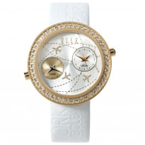 ELLE IP Gold Case and Silver Dial with White Leather Strap. 41mm Case.