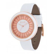 ELLE Rose Gold and White Enamel Case with White Leather Strap. 38mm Case.