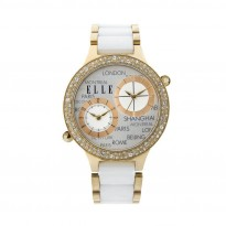ELLE IP Gold and Swarovski Crystal Case with Two-Tone White Ceramic Band. 41mm Case.