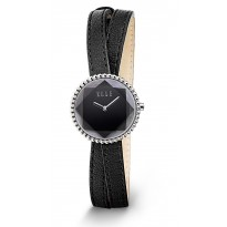 ELLE Facet Collection. Steel Case with Black Dial and Black Leather Strap. 27mm Case.