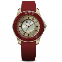 ELLE IP Rose Gold and Red Case and MOP/Sunray Dial with Swarovski Crystals and Red Satin Leather Strap. 38mm Case.