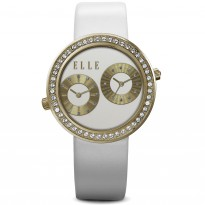 ELLE IP Gold and Swarovski Crystal Case with White Matte Dial and White Leather Strap. 41mm Case.