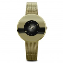 ELLE IP Gold Case with Sunray and Crystal Dial and IP Gold Mesh Bracelet. 31mm Case.