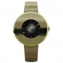 ELLE IP Gold Case with Sunray and Crystal Dial and IP Gold Mesh Bracelet. 41mm Case.