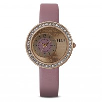 ELLE IP Rose Gold and Swarovski Crystal Case with IP Rose Gold and Pink Dial and Pink Leather Strap. 30mm Case.
