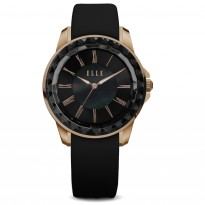 ELLE IP Rose Gold and Black Case with Sunray Dial and Black Satin Leather Strap. 38mm Case.