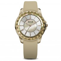 ELLE IP Gold Case with Sunray Dial and Gold Satin Leather Strap. 38mm Case.