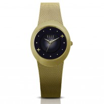 ELLE IP Gold Case with Sunray and Crystal Dial and IP Gold Mesh Bracelet. 27mm Case.