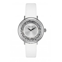 ELLE Steel Case with Crystal Rock Sunray Dial and White Leather Strap. 36mm Case.