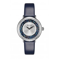 ELLE Steel Case with Crystal Rock Sunray Dial and Blue Leather Strap. 36mm Case.