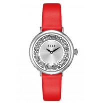 ELLE Steel Case with Crystal Rock Sunray Dial and Red Leather Strap. 36mm Case.