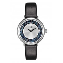 ELLE Steel Case with Crystal Rock Sunray Dial and Black Leather Strap. 36mm Case.