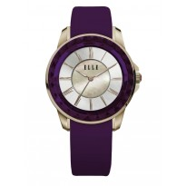 ELLE IP Gold Case with Purple Faceted Bezel, Sunray MOP Dial, and Purple Satin Leather Band. 38mm Case.