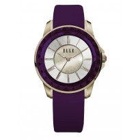 ELLE IP Gold Case with Purple Faceted Bezel, Sunray MOP Dial, and Purple Satin Leather Band. 30mm Case.