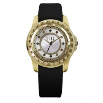 ELLE IP Gold Case with Gold Faceted Bezel, Sunray MOP and Swarovski Stone Dial, and Black Leather Band. 30mm Case.