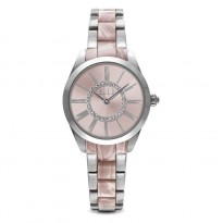 ELLE Steel Case, Light Pink Sunray Dial with Swarovski Stones, and Two-Tone Light Pink and Steel Band. 30mm Case.