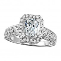 14K Diamond 1 1/4 ctw Engagement With 1 ct Em Cut Center Diamond