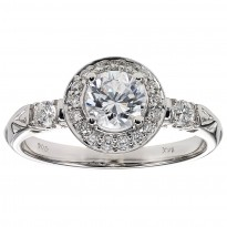 14K Diamond 1/4 ctw Engagement With 3/4 ct Center Diamond