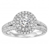 14K Diamond  7/8 ctw Engagement With 1/2 ct Center Diamond