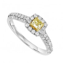14K Diamond 1 ctw Engagement Ring with Yellow Center Diamond