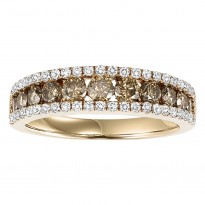 14K Diamond 1 1/5 ctw Brown & White Diamond Band