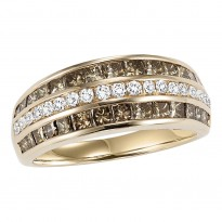 14K Diamond 1 1/2 ctw Brown & White Diamond Band