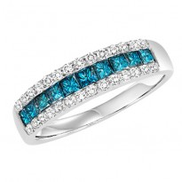 14K Diamond 1 ctw Blue & White Diamond Band