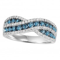 14K Diamond 1 1/4 ctw Blue & White Diamond Band