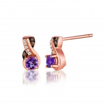 Le Vian Amethyst and Chocolate Diamond Earrings