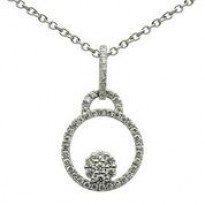 White Gold Diamond Circle Necklace