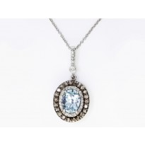 Effy Aquamarine and Diamond Necklace