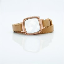 Rose Dial and Light Brown Leather Bracelet
