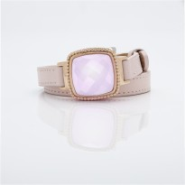 Rose Dial and Pink Leather Bracelet